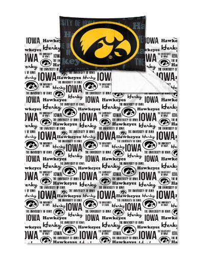 The Northwest Company NCAA Iowa Hawkeyes Twin Sheet Set College Anthem ()