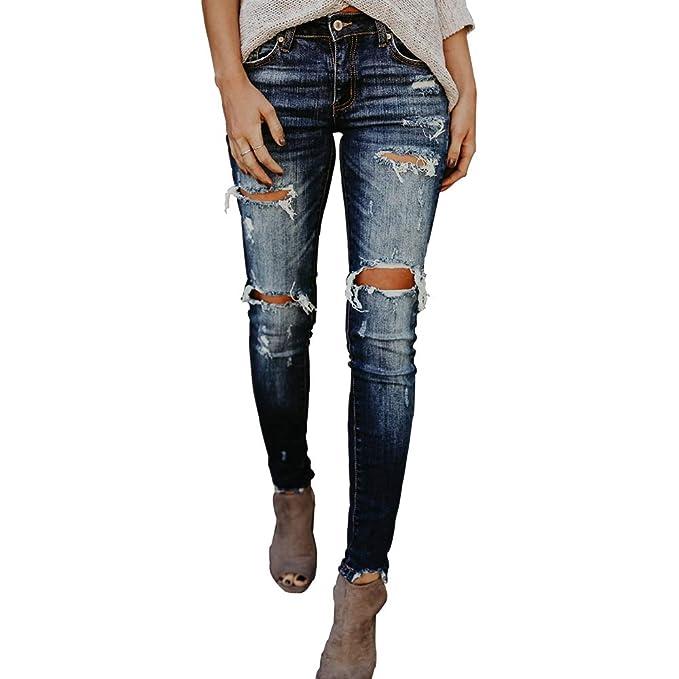 Amazon.com: Quanxin – Pantalones vaqueros para mujer con ...