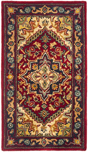 Safavieh Heritage Collection HG625A Handcrafted Traditional Oriental Heriz Medallion Red Wool Area Rug (2' x 3') - Round Tufted Cotton Rug