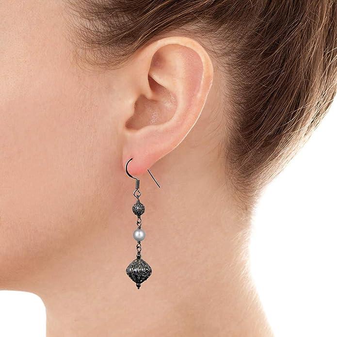 Dangle Earrings For Sensitive Ears Sterling Silver Dangling Wedding Earrings For Girls Hypoallergenic Nickel Free Earrings 4.7 Ctw Freshwater Pearl /& Diamond Earrings For Women By Orchid Jewelry