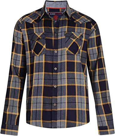 Kam Jeanswear - Camisa de Franela de Cuadros Tallas ...