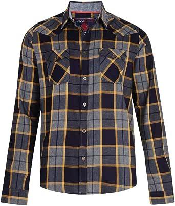Kam Jeanswear - Camisa de Franela de Cuadros Tallas Grandes para Hombre Caballero
