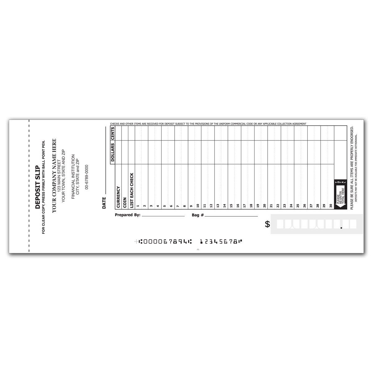 30-Line Booked Deposit Slips - Deposit Slip Books for Business (2400 qty) - Custom