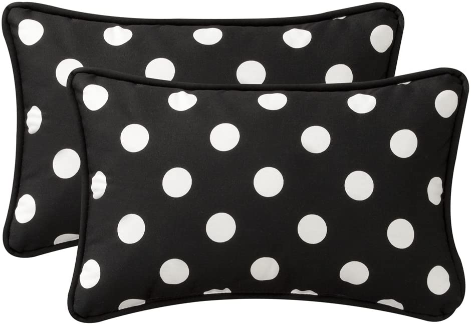 Pillow Perfect Decorative Polka Dot Toss Pillow, Rectangle, Black White