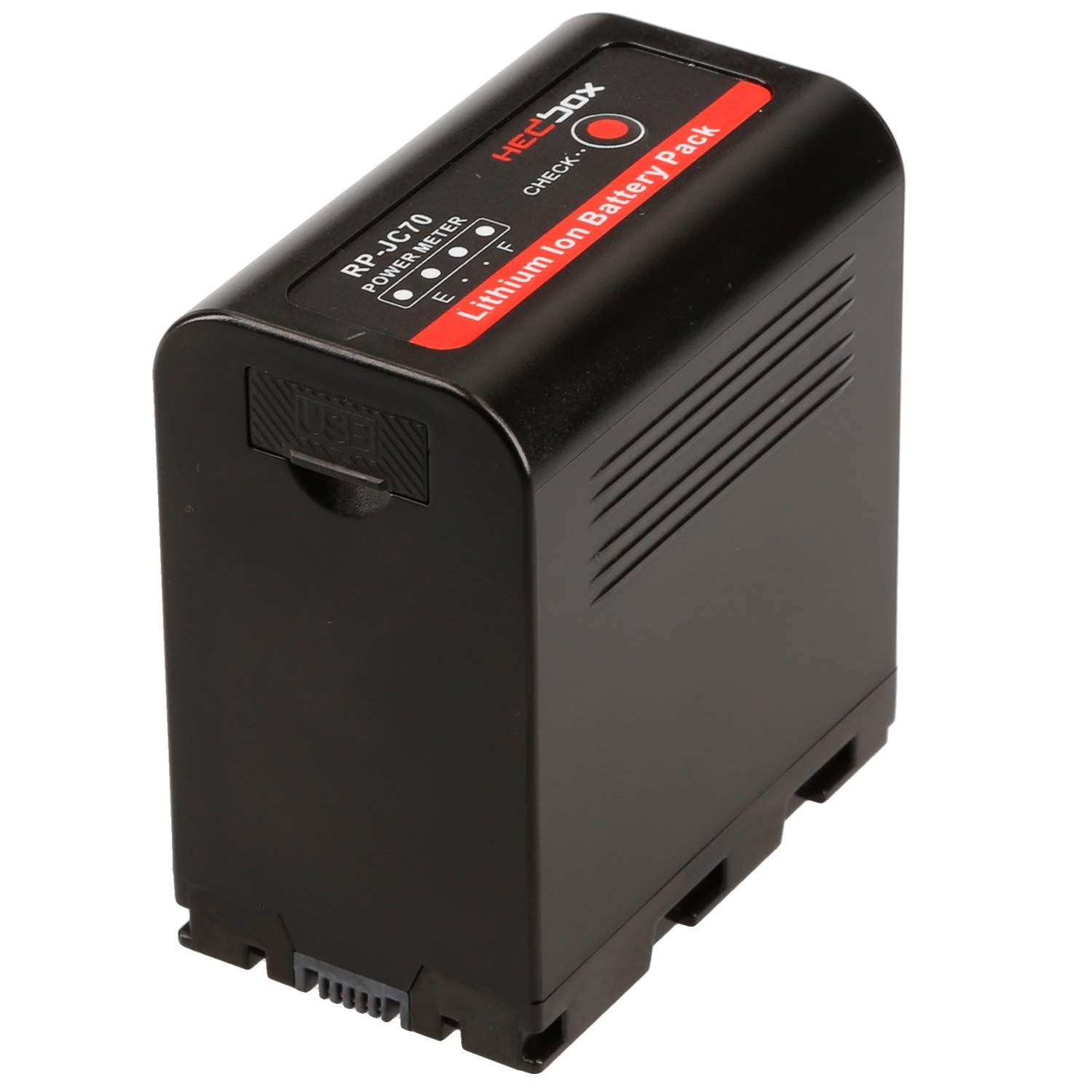 HEDBOX | RP-JC70 | Li-Ion Battery 7800mAh, DC and USB Power Out, 4-LED Capacity Meter for JVC SSL- JVC50/JVC70/JVC75 and GY- HMQ10/LS300/HM200/HM600/HM650, DT-X Camcorders by HEDBOX
