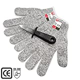 GenKitchen Oyster Shucking Knife & Level 5 Protection Cut Resistant Gloves (XL) Set - 2.4'' Oyster Shucker Opener Tool Kit