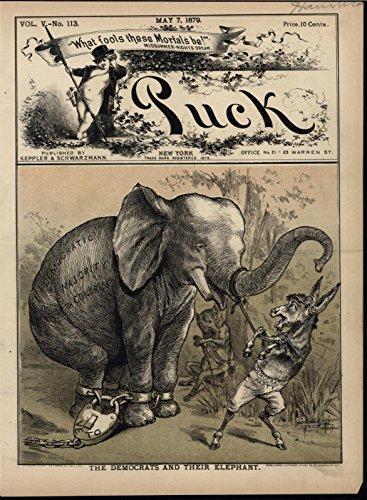 Republican Party Elephant Democrat Donkey 1879 antique color lithograph print