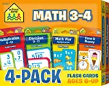 School Zone - Math 3-4 Flash Card 4-Pack -  Ages 6 and Up, Multiplication, Division, Time and Money, and More