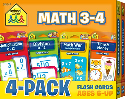 -4 Flash Card 4-Pack -  Ages 6 and Up, Multiplication, Division, Time and Money, and More ()
