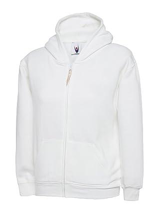 6f9880e4dfb6c Enfants Classique Capuche Fermeture Éclair Uni Pull Pull À Capuche Ecole -  Blanc