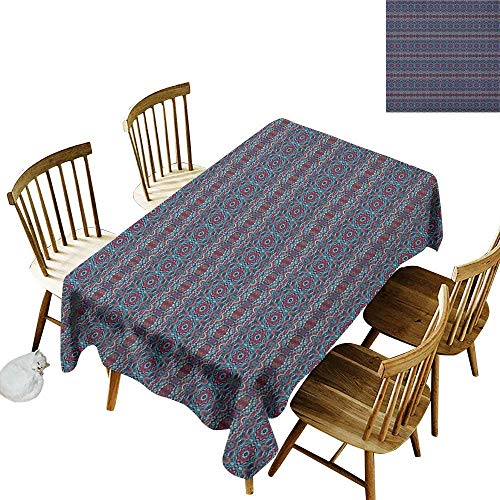kangkaishi Easy to Care for Leakproof and Durable Long tablecloths Outdoor Picnic Tribal Colorful Composition with Triangles and Stars Traditional Oriental Motifs W54 x L108 Inch Multicolor ()