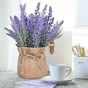 YAPASPT 2 Pack Small Burlap Potted Lavender Flowers - Artificial Fake Flower and Plant Flocked Charming Purple for Warm and Loving Home or Venue Decor 5
