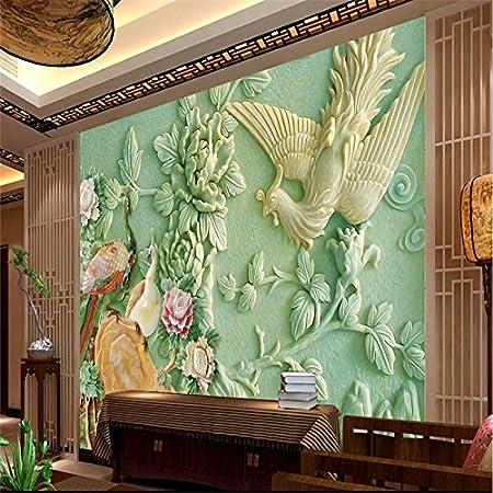 Lqwx Home Decor Peacock Relief Murales De Pared 3d Wallpaper Hotel