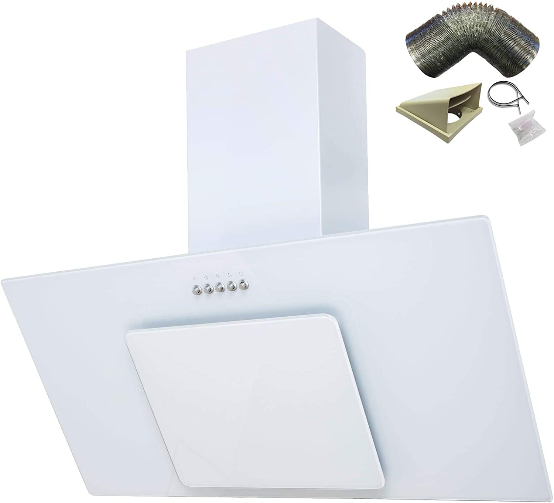 Sia – Conector de 90 cm blanco hielo cristal chimenea campana extractor + 1 m juego de conductos: Amazon.es: Grandes electrodomésticos