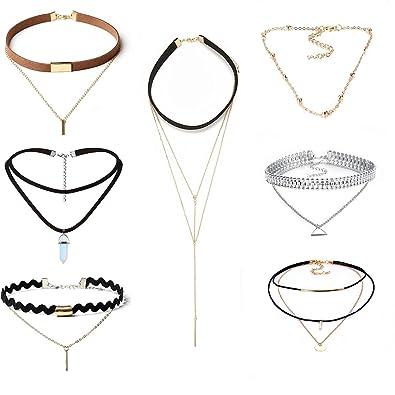 3b7e286acc72 Mingjun terciopelo negro oro cadena larga borla chokers Set rhinestone collar  chokers para adolescentes Niñas Mujeres