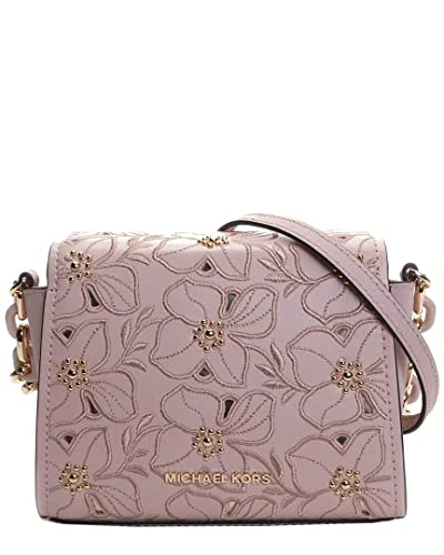 7875c0088b3b Michael Kors Sofia Small Stud Flower Crossbody Saffiano Leather Bag- Ballet