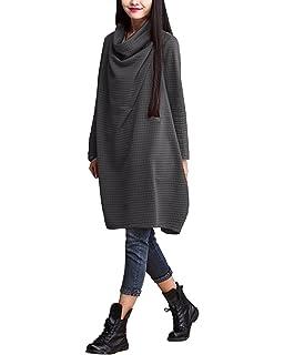 d28d857cdc BienBien Robe Manche Longue Femme Col Bénitier Pull Oversize Automne Hiver  Sweat Robe Grande Taille Elegant