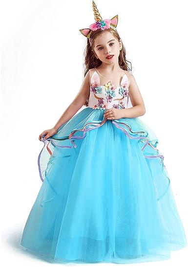 Amazon.com: TTYAOVO Vestido de unicornio para niños, diseño ...