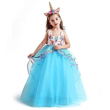NNJXD,Disfraz Unicornio Niña, Vestidos Unicornio niña, Fiesta de Cosplay, Boda, Partido,Vestido De Princesa