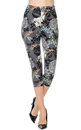 e68881c713532 VIV Collection Regular Size Printed Brushed Capris (Ageless Blossom)