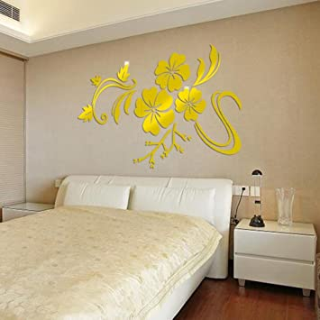 Amazon.com: 3D Wall Sticker,Bokeley 3D Acrylic Mirrow Flower Art ...
