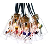 Solarbuy24 Set of 15 Glass Jar with Happy Flowers Solar String Lights Lanterns Warm White for Outdoor Garden Chrismas Tree Party Wedding Decoration Waterproof