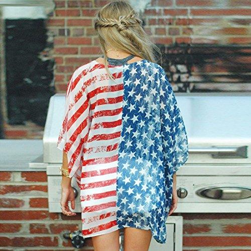 QIYUN.Z Bandiera Americana Estiva Delle Donne Apre Le Parti Superiori Della Spiaggia Dei Cardigans