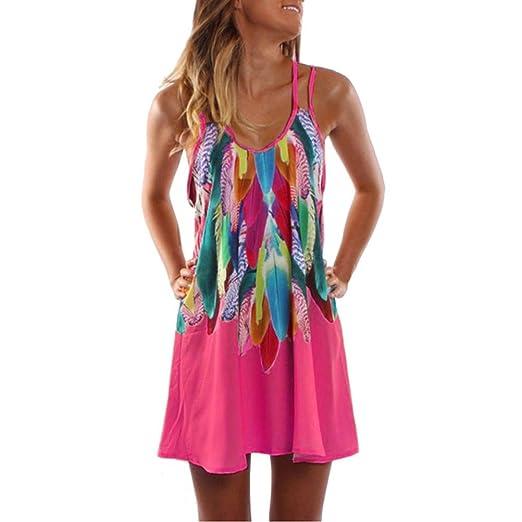 cc21e4026d38 Gyoume Womens Dress,Summer Boho Casual Printed Maxi Party Cocktail Beach  Dress Sundress (S