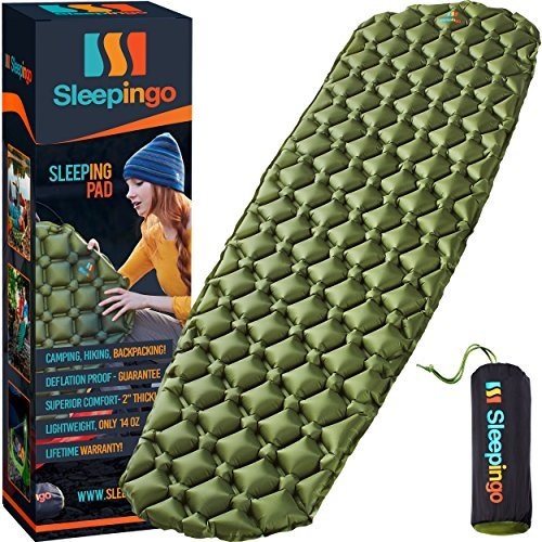 Sleepingo Camping Sleeping Pad - Mat, (Large), Ultralight 14.5 OZ, Best Sleeping Pads for Backpacking, Hiking Air Mattress - Lightweight, Inflatable & Compact, Camp Sleep Pad (Best Air Bed For Camping)