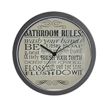 CafePress   Bathroom Rules   Unique Decorative 10u0026quot; Wall Clock