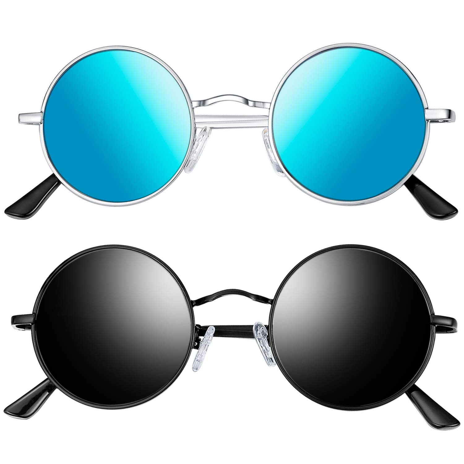 Joopin Polarized Round Sunglasses for Men and Women, 2 Pack Unisex Steampunk Sunglasses Hippie Sunglasses E4056 (Black+Blue)