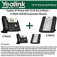 Yealink SIP-T21P E2 IP Phone 2-PACK + EXP20 2-PACK LCD Expansion Module