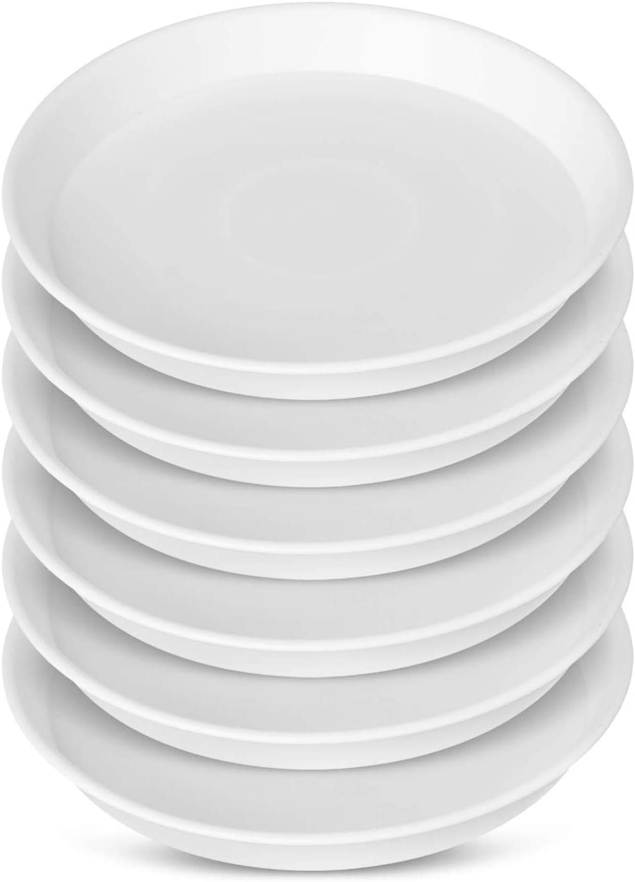 GROWNEER 6 Packs 10.6 Inches Plant Saucer Drip Trays, Suit for Pots Less Than 9 Inches Bottom Diameter, Round Plastic Plant Pot Saucers Flower Pot Tray for Indoor Outdoor Garden, White