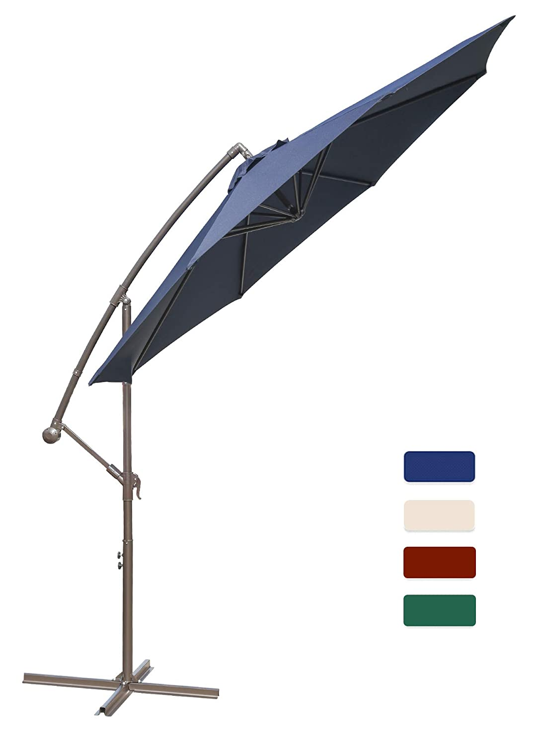 HASLE OUTFITTERS Offset Patio Umbrella 10FT Cantilever Umbrella Outdoor Market Umbrella Hanging Umbrella with Cross Base Navy