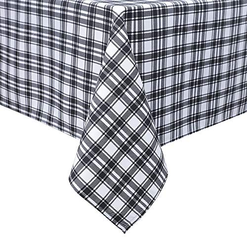 PANOVOUS Buffalo Check Plaid White Tablecloth Checkered Tablecloths Square for Family Dinners or Gatherings, Indoor or Outdoor Parties, Everyday Use 54 x 54 Square Tablecloths White and Black