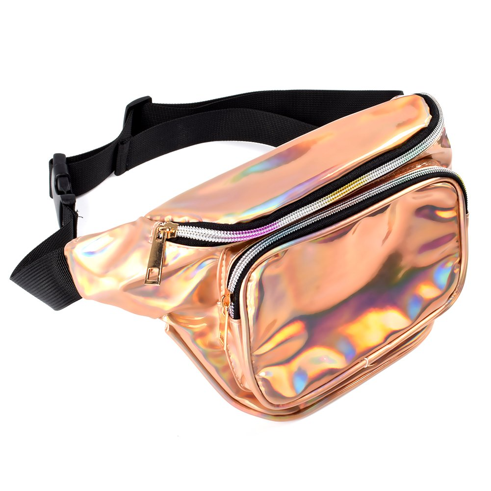 Fanny Pack Shiny Neon Waist Bags for Women Waterproof Rave Holographic Travel Waist Pack