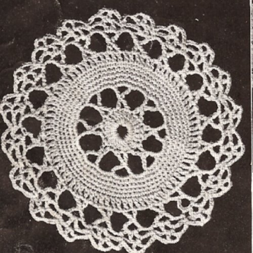 Vintage Crochet PATTERN to make - MOTIF BLOCK Star Wheel Round Design Tablecloth. NOT a finished item. This is a pattern and/or instructions to make the item only.