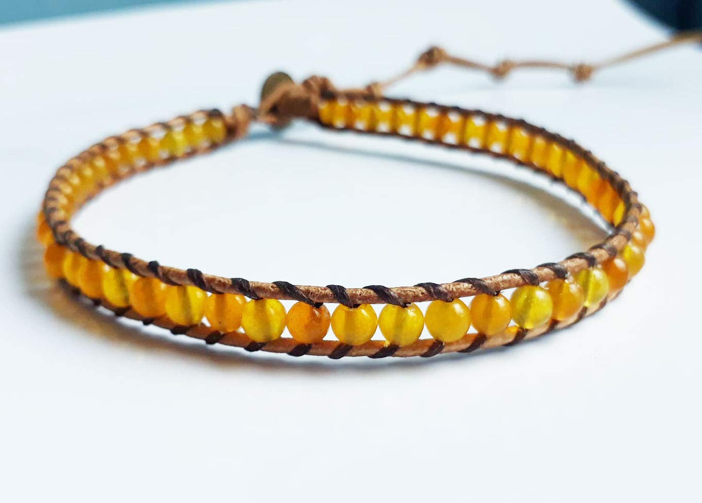 Yellow jade stone wrap bracelets leather bracelets gemstone bracelets men bracelets women bracelets friendship bracelets gift bracelets