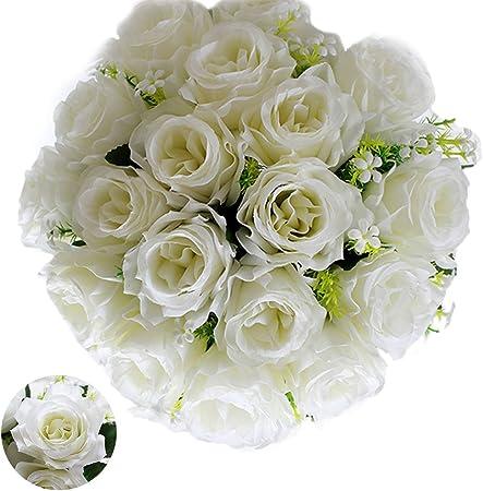 Mazzo Di Fiori Per Matrimonio.Lovestory Bouquet Da Sposa Seta 18 Rosa Mazzo Di Fiori Finti Rose