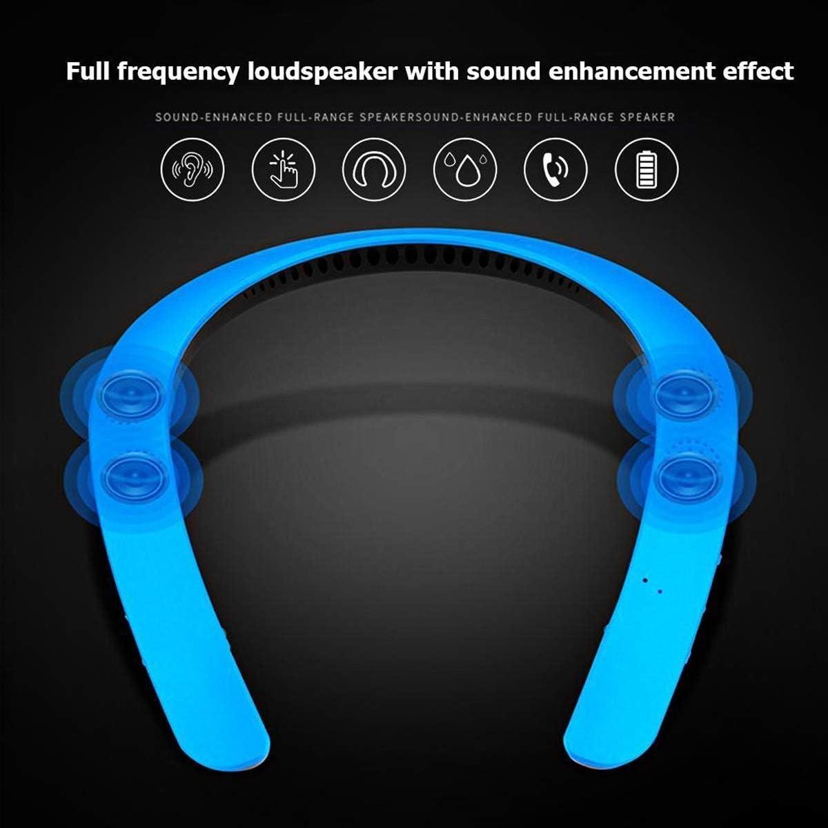 Wallfire Banda para el Cuello portátil Auricular estéreo inalámbrico Auricular Bluetooth Altavoz MP3 Palyer Auricular (Color : Blue)