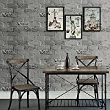 """HaokHome H010 Faux Brick Peel and Stick Wallpaper 23.6"""" x 19.7ft Dk.Grey Self Adhesive Contact Wall Decoration"""