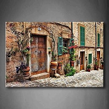 Art Wand Straßen Of Old Mediterrane Städte Flower Tür Windows Wand Art Der  Malerei Bild Kunstdruck