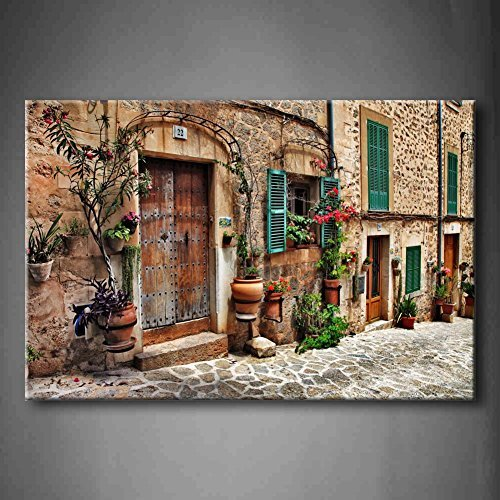 Streets of Old Mediterranean Towns Flower Door Windows Wall Art Painting the Picture Print on Canvas Architecture Pictures for Home Decoration