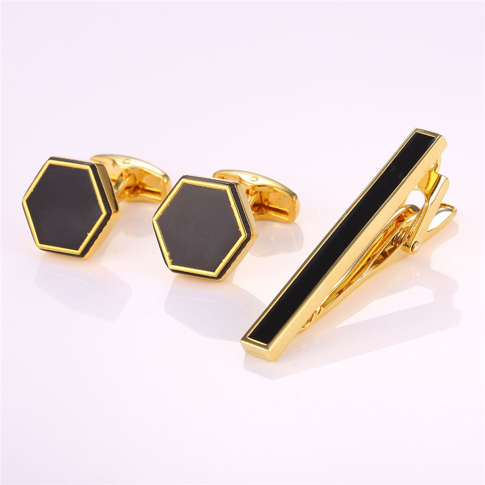 U7 Enamel Hexagon Cufflinks Men Shirt Studs 2 Pieces 18K Gold/Platinum Plated Cuff Links U7 Jewelry U7 C2114K