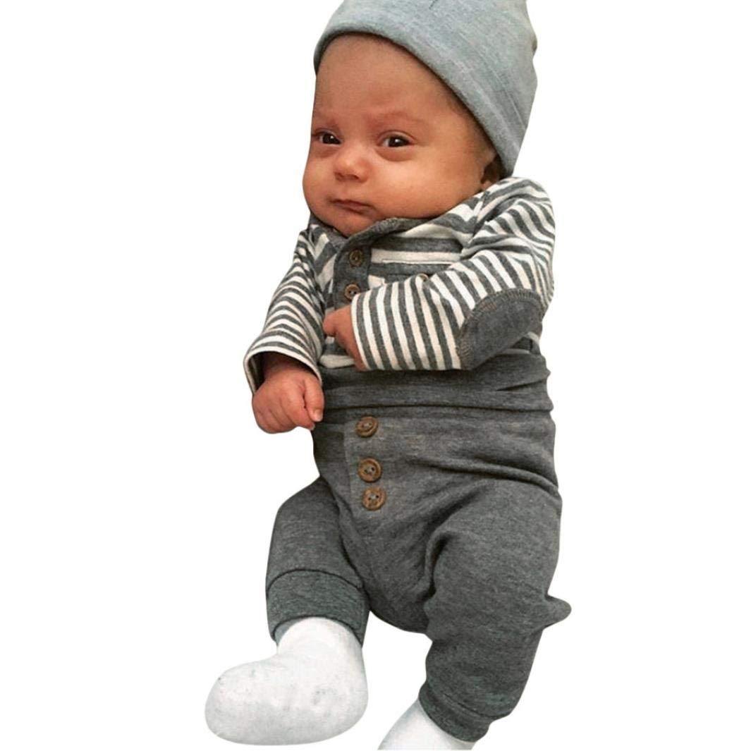 Pantalones ASHOP 0-4 a/ños Ni/ño Ni/ña Oto/ño//Invierno Ropa Conjuntos Camisetas de Manga Larga con Rayas Conjuntos Bebe