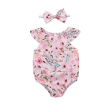 a9f48535076c Amazon.com  Sameno Baby Girl Fashion Romper Newborn Infant Floral ...