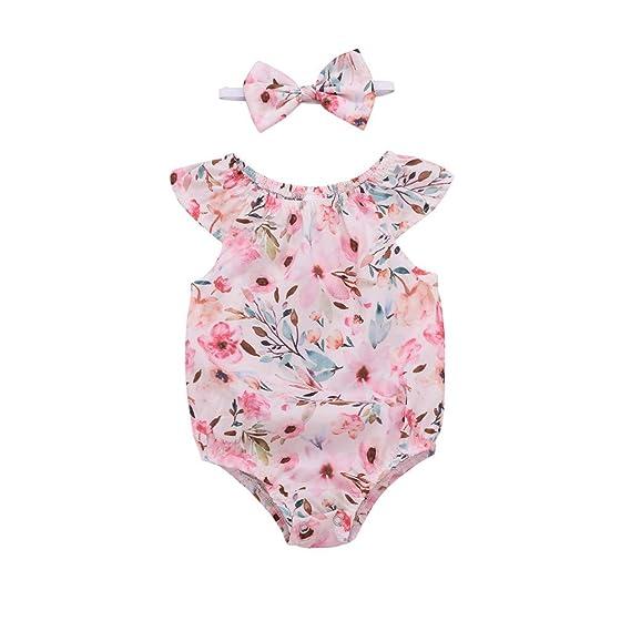 Ropa para bebé niñas Monos Verano Recién Nacido bebé niña Floral de algodón Mameluco del Pelo