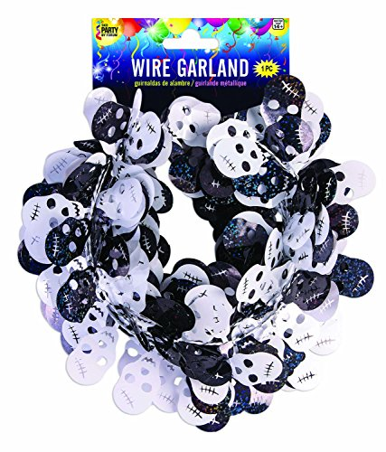 SKD Party Black & White Halloween Skull Shaped Tinsel Wire Garland 18 ft x 2 Packs (36 ft Total) -