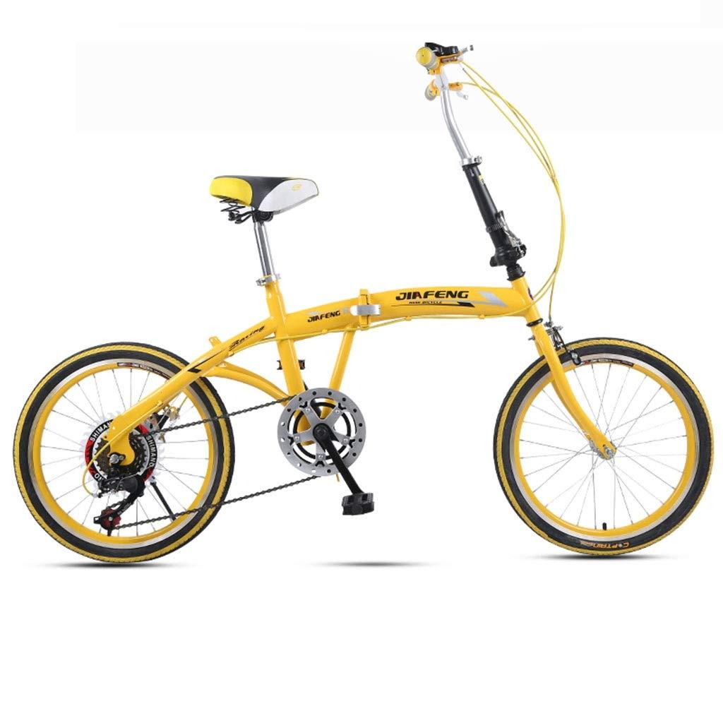 折りたたみ自転車 自転車20インチ大人折りたたみ自転車超軽量可変速ポータブル自転車男性と女性の学生自転車 (Color : Yellow, Size : 155*30*94cm) 155*30*94cm Yellow B07PR42GKP
