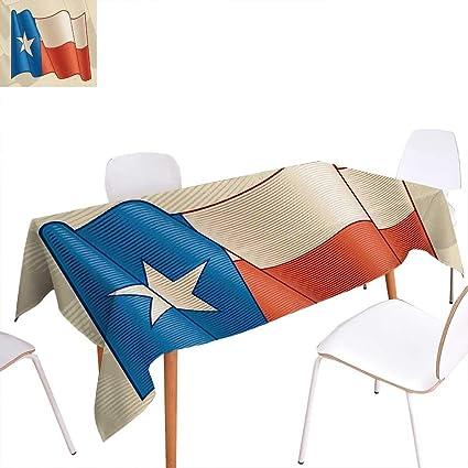 familytaste Mantel Rectangular con diseño de Estrella de Texas con Efecto Retro, diseño de Bandera de Estados Unidos Rectangular, Resistente a Las Arrugas, Color Beige y Azul: Amazon.es: Hogar